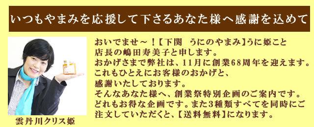 2013創業祭うに姫(雲丹川クリス姫)挨拶バナー